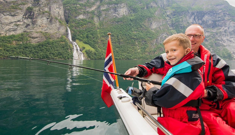 Fishing cruise on the Geirangerfjord, fishing tour,