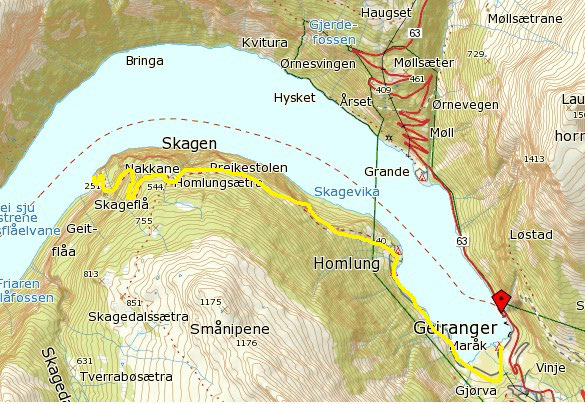 kart over geiranger Fjord sightseeing båt cruise på Geirangerfjord kart over geiranger